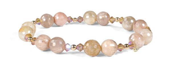 Peach Moonstone, Colorado Topaz Crystals and 14kt Gold bracelet