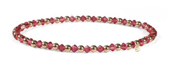 Indian Pink Swarovski Crystals and 14kt Gold