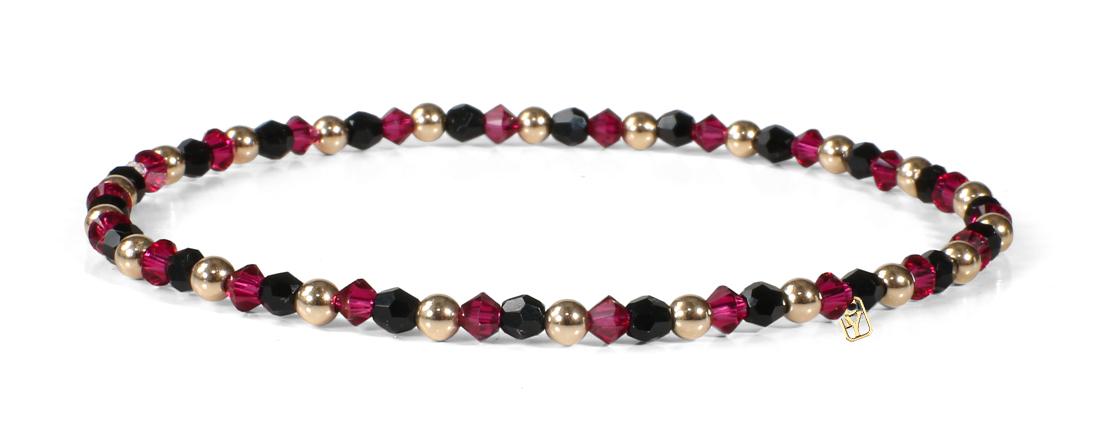 Black and Red Swarovski Crystals and 14kt Gold Bracelet