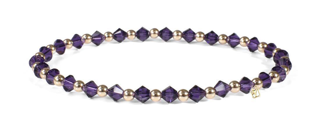 Purple Swarovski Crystals and 14kt Gold bracelet