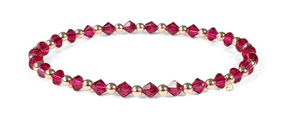 Ruby Swarovski Crystals and 14kt Gold bracelet
