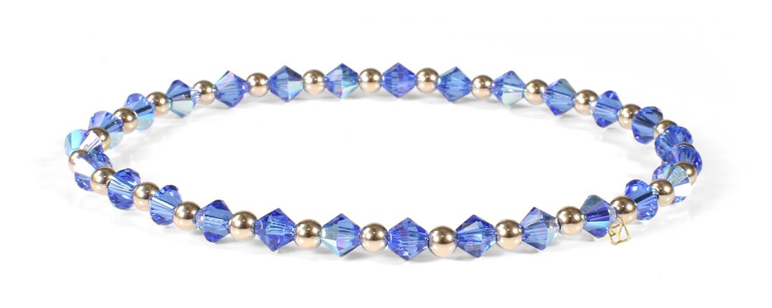 Sapphire Swarovski Crystals and 14kt Gold bracelet