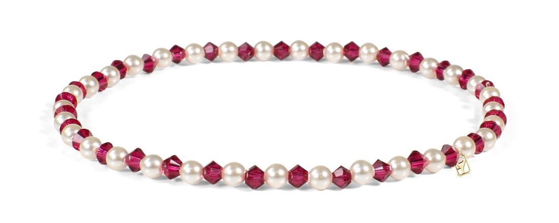 Ruby Swarovski Crystals and Pearl bracelet