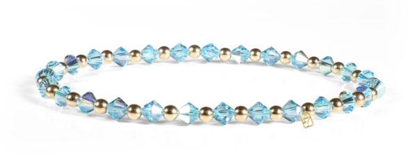 quamarine Swarovski Crystal and 14kt Gold Bracelet