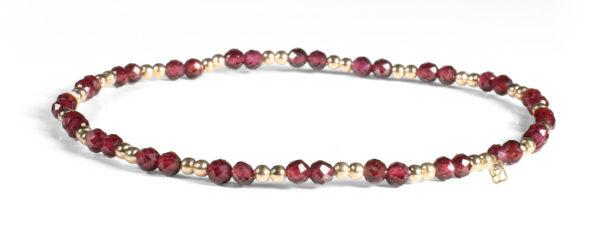 Garnet and 2mm 14kt Gold Bracelet