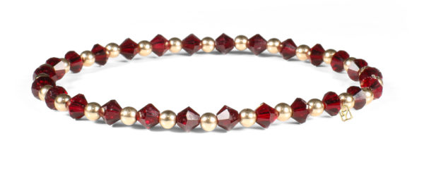 Garnet Swarovski Crystals and 14kt Gold Bracelet