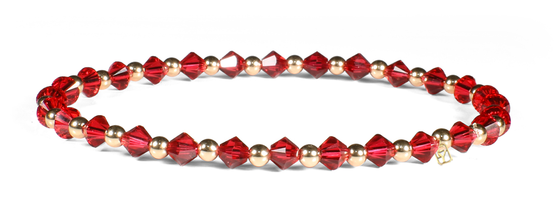 Scarlet Red Swarovski Crystals and 14kt Gold Bracelet