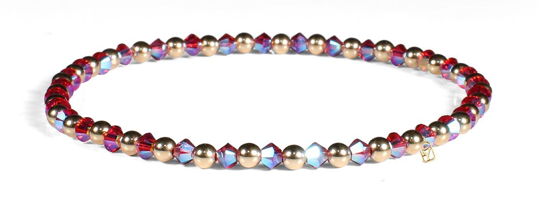 Scarlet Pink Shimmer Swarovski Crystals and 14kt Gold Bracelet