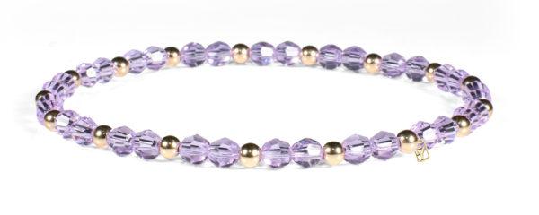 Violet Swarovski Crystals and 14kt Gold Bracelet