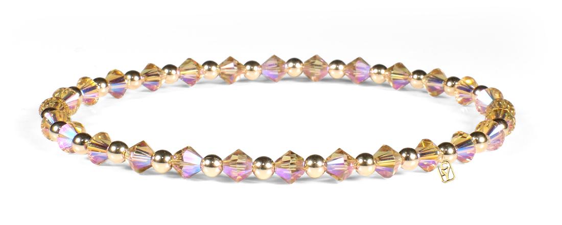 Colorado Topaz Swarovski Crystals and 14kt Gold Bracelet