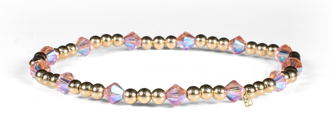 Rose Shimmer Swarovski Crystals and 14kt Gold Bracelet