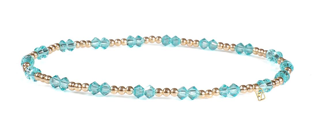 Light Turquoise Swarovski Crystals and 14kt Gold Bracelet