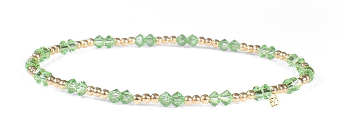 Peridot Swarovski Crystals and 14kt Gold Bracelet