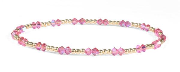 Rose Shimmer Swarovski Crystals and 14kt Gold