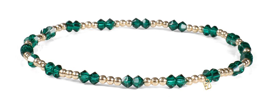 Emerald Swarovski Crystals and 14kt Gold Bracelet
