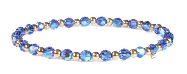 Sapphire Swarovski Round Crystals and 14kt Gold Bracelet