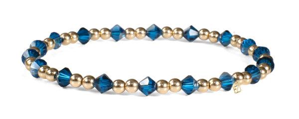 Cobalt Swarovski Crystals and 14kt Gold Bracelet