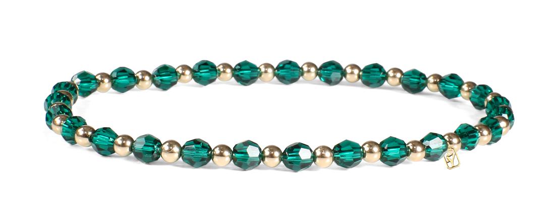 Emerald Swarovski Round Crystals and 14kt Gold Bracelet