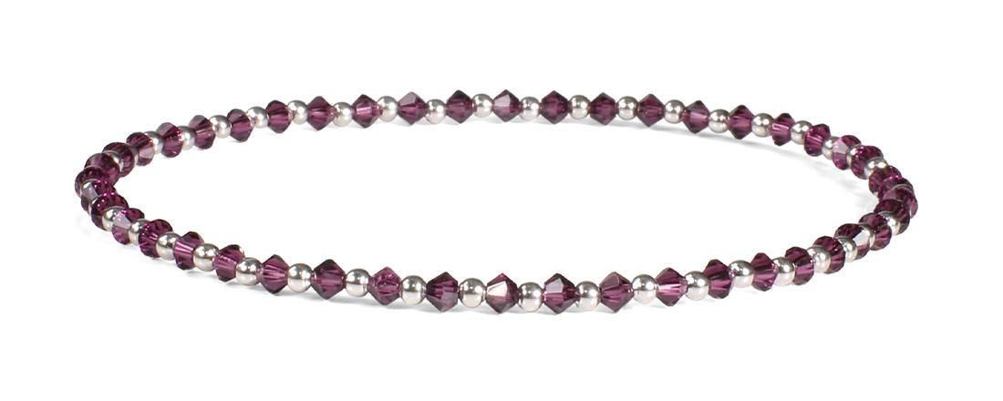 Amethyst Swarovski Crystals and 14kt White Gold Bracelet