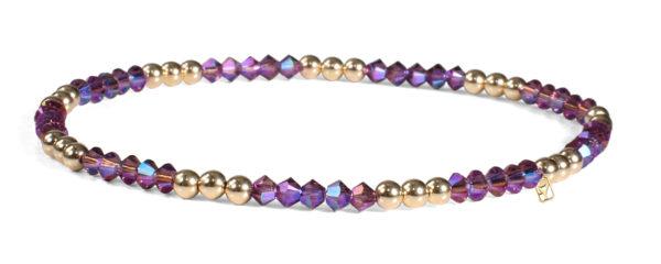 Amethyst Shimmer Swarovski Crystals and 14kt Gold Bracelet