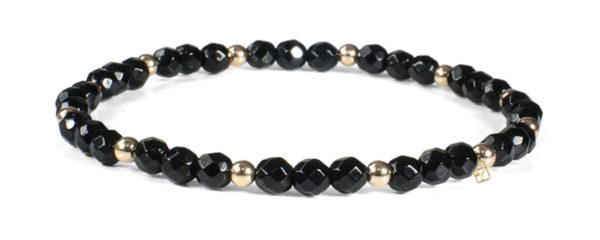 Black Onyx Gemstones and 14kt Gold Bracelet