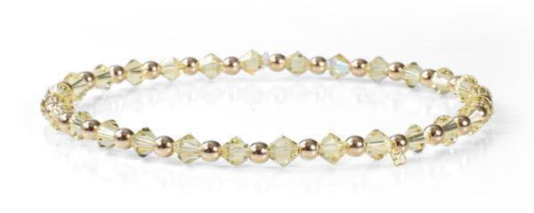 Yellow Topaz Swarovski Crystals and 14kt Gold Bracelet