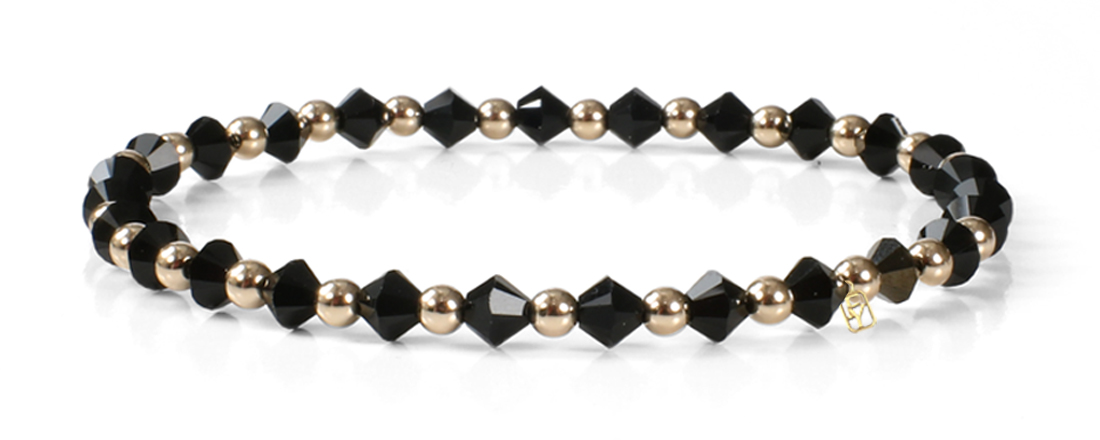 Black Swarovski Crystals and 14kt Gold Bracelet