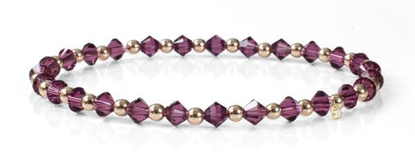 Amethyst Swarovski Crystals and 14kt Gold Bracelet