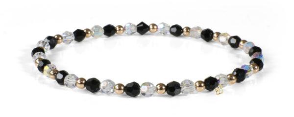 Clear Shimmer and Black Crystals and 14kt Gold bracelet