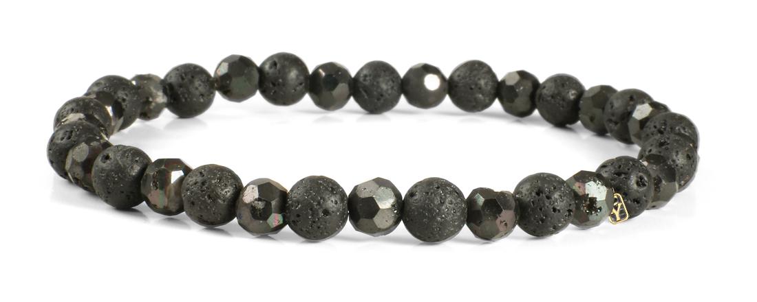 Black Lava Gemstones and Dakota Druzy Agate Bracelet