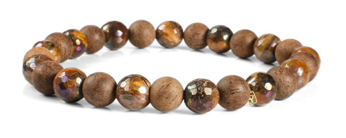 Tiger Eye Gemstone and Wood Bracelet