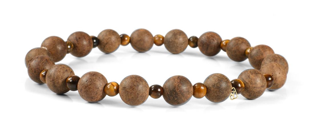 Tiger Eye Gemstones (4mm) and Wood Bracelet