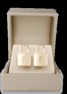 Gold Lock Earrings by FY Designs