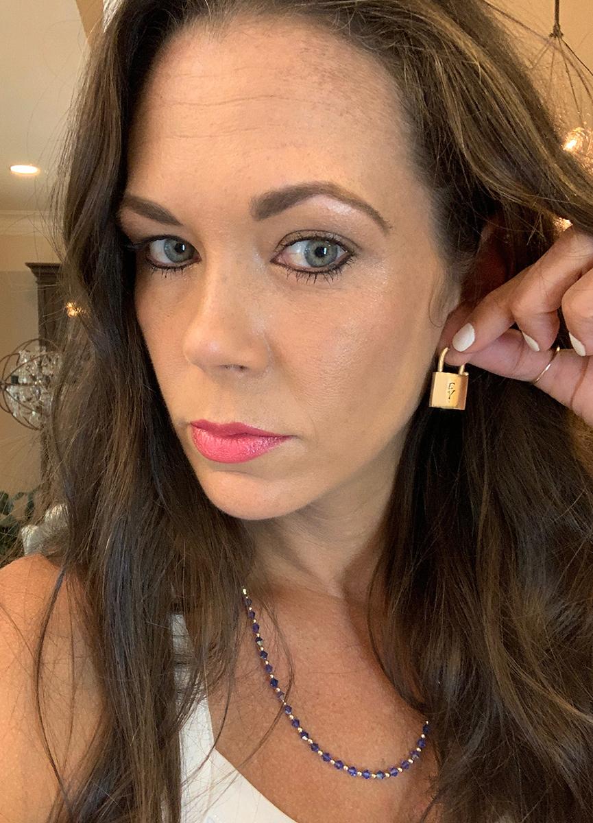 Signature Gold Lock Drop Earrings