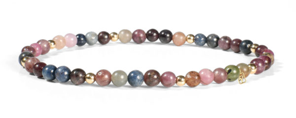 Multi Stones (Ruby and Sapphire) and 14kt Gold Bracelet