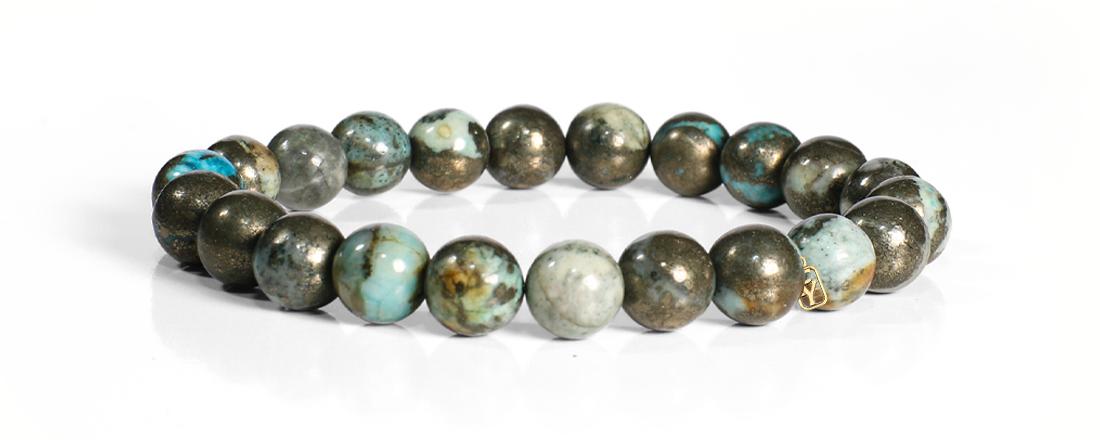 Golden Pyrite with Blue Quartz Bracelet