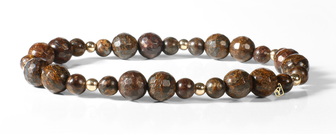 Bronzite and 14kt Gold Bracelet