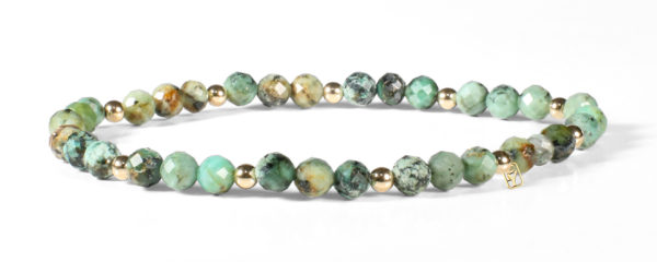 African Turquoise and 14kt Gold Bracelet