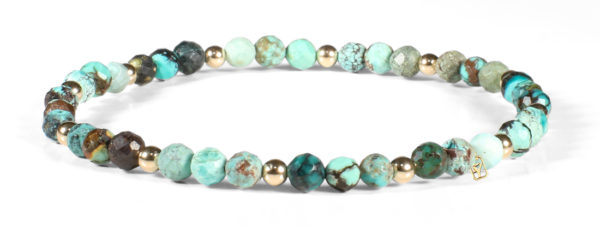 Chinese Turquoise and 14kt Gold Bracelet