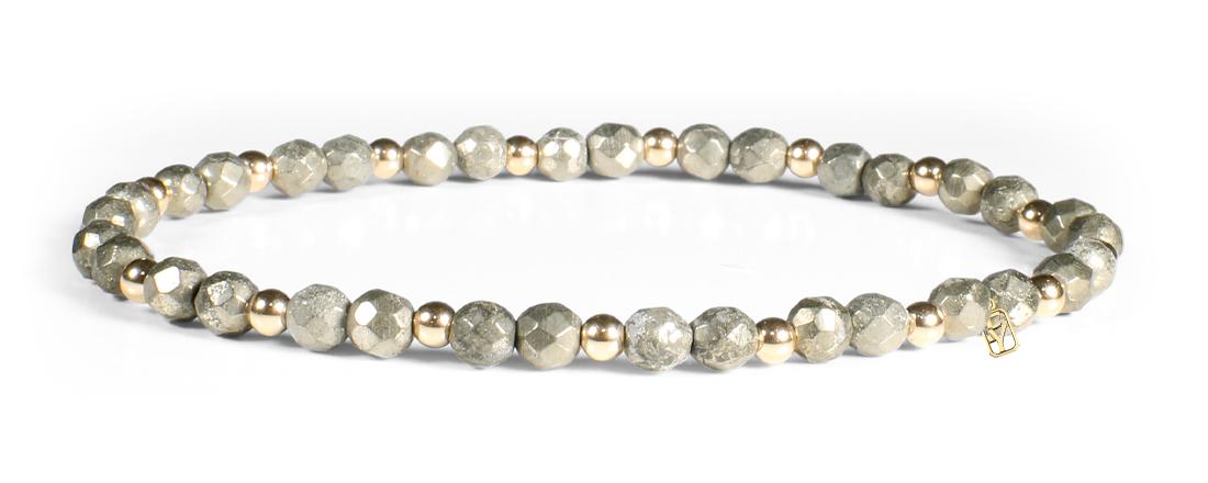 Golden Pyrite and 14kt Gold Bracelet