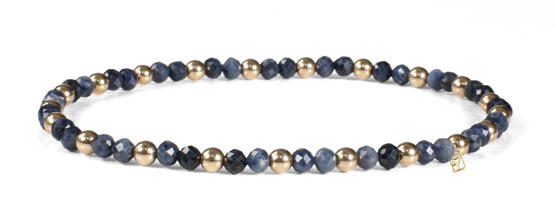 Sapphire Faceted Gemstones and 14kt Gold Bracelet