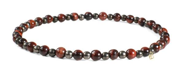 Red Tiger Eye and Hematite Gemstones (4mm) Bracelet