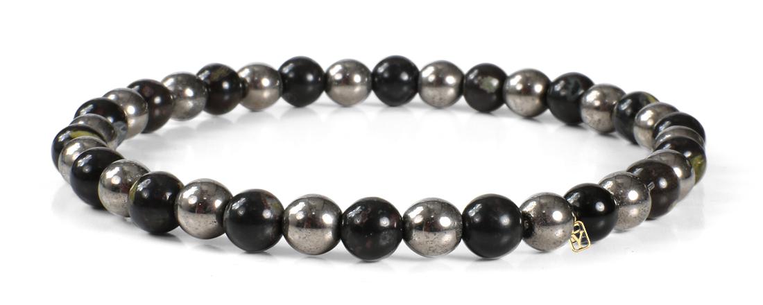 Black Onyx and Hematite Gemstones Bracelet