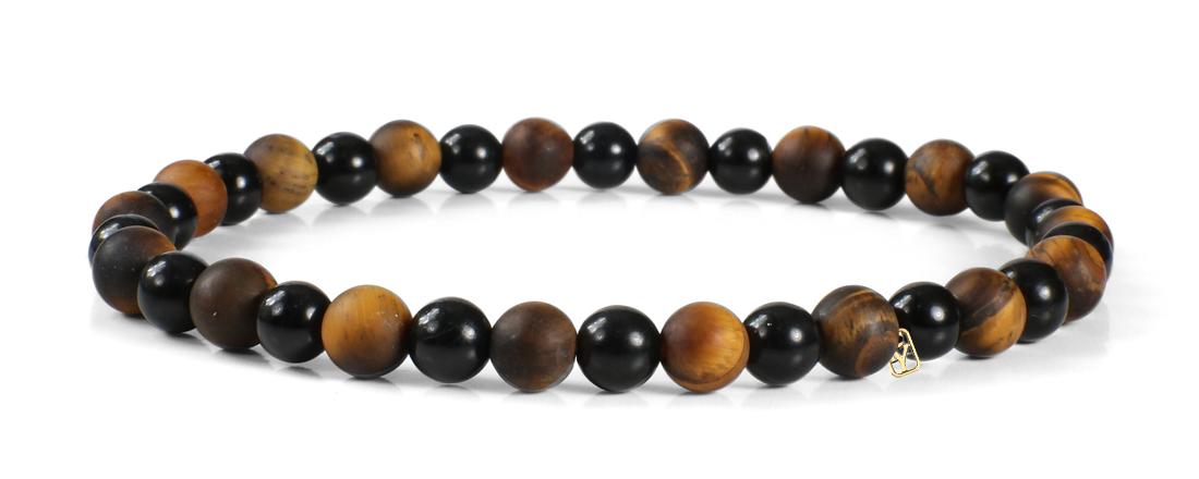 Black Onyx and Matte Tiger Eye Gemstones Bracelet