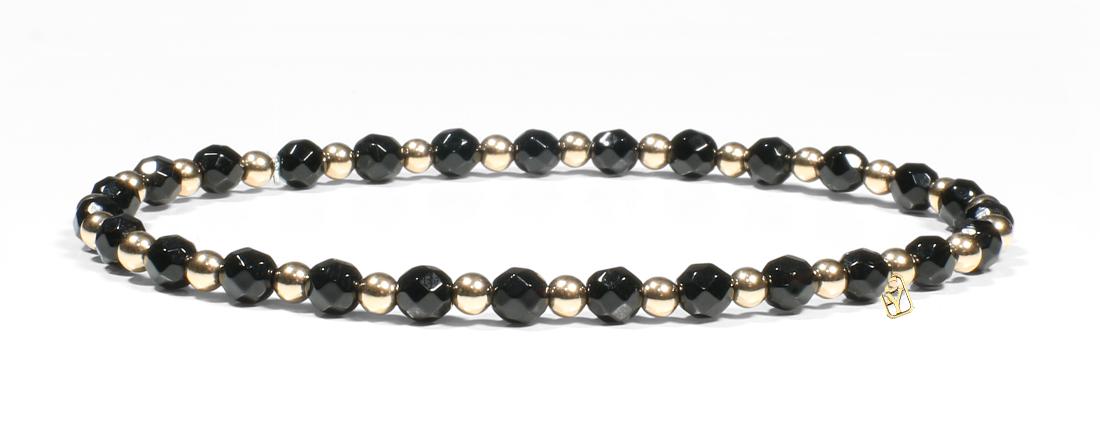 Black Onyx and 14kt Gold Bracelet