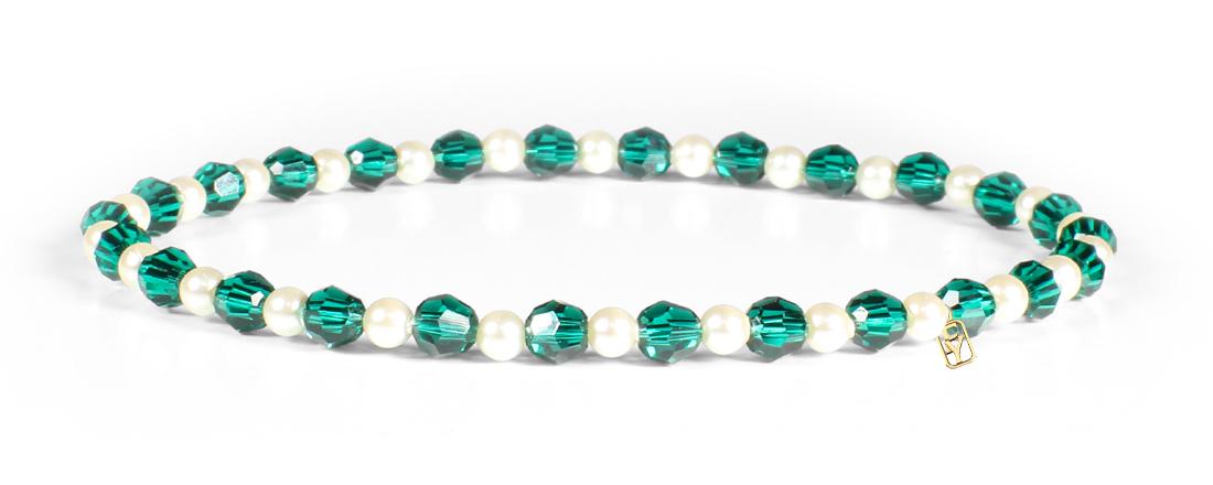 Emerald Swarovski Crystals and Pearl Bracelet