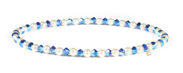 Sapphire Swarovski Crystals and Pearl Bracelet