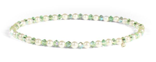 Peridot Swarovski Crystals and Pearl Bracelet