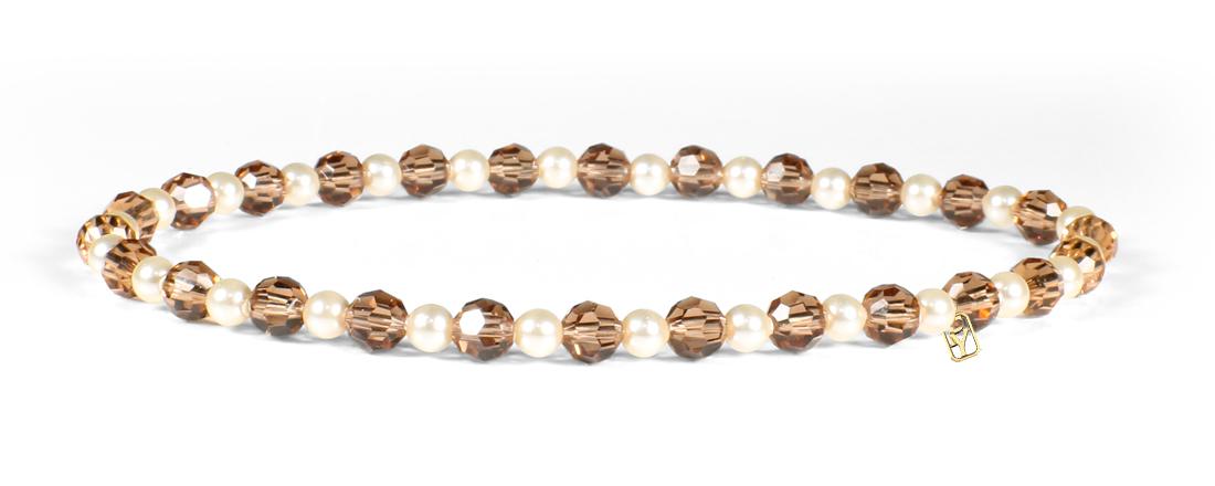 Smoked Topaz Swarovski Crystals and Pearl Bracelet
