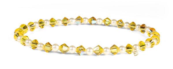 Yellow Topaz Swarovski Crystal and Pearls Bracelet